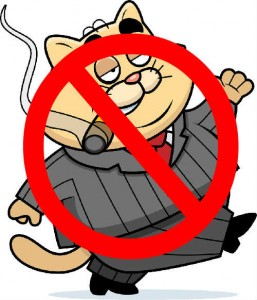 cartoon fat cat with no entry sign