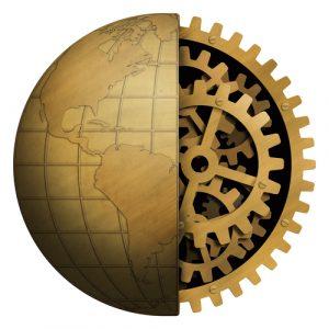 brass model of earth with cutaway clockwork gears