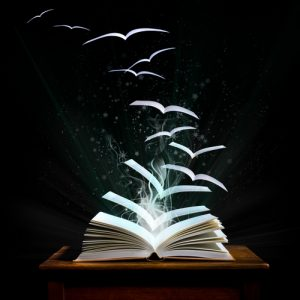 book with pages magically flying away