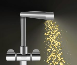 money symbols flowing out of a kitchen tap