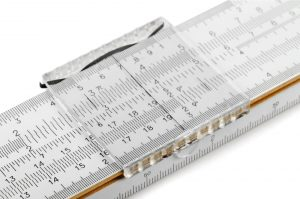 closeup of a slide rule